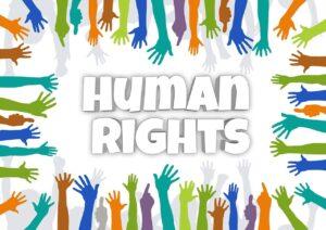 Le mani umane che formano i diritti umani o human rights